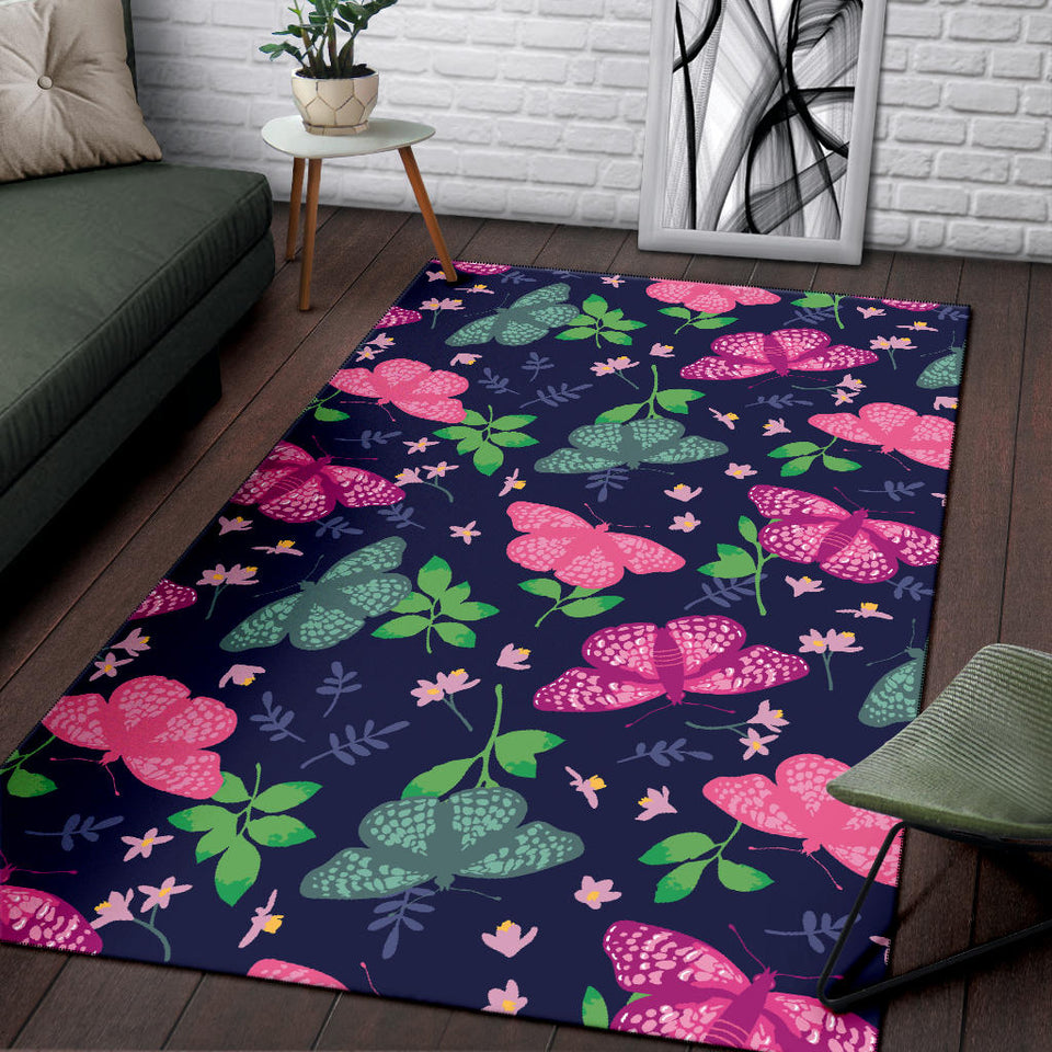 Monarch Butterfly Pattern Print Design 03 Area Rug