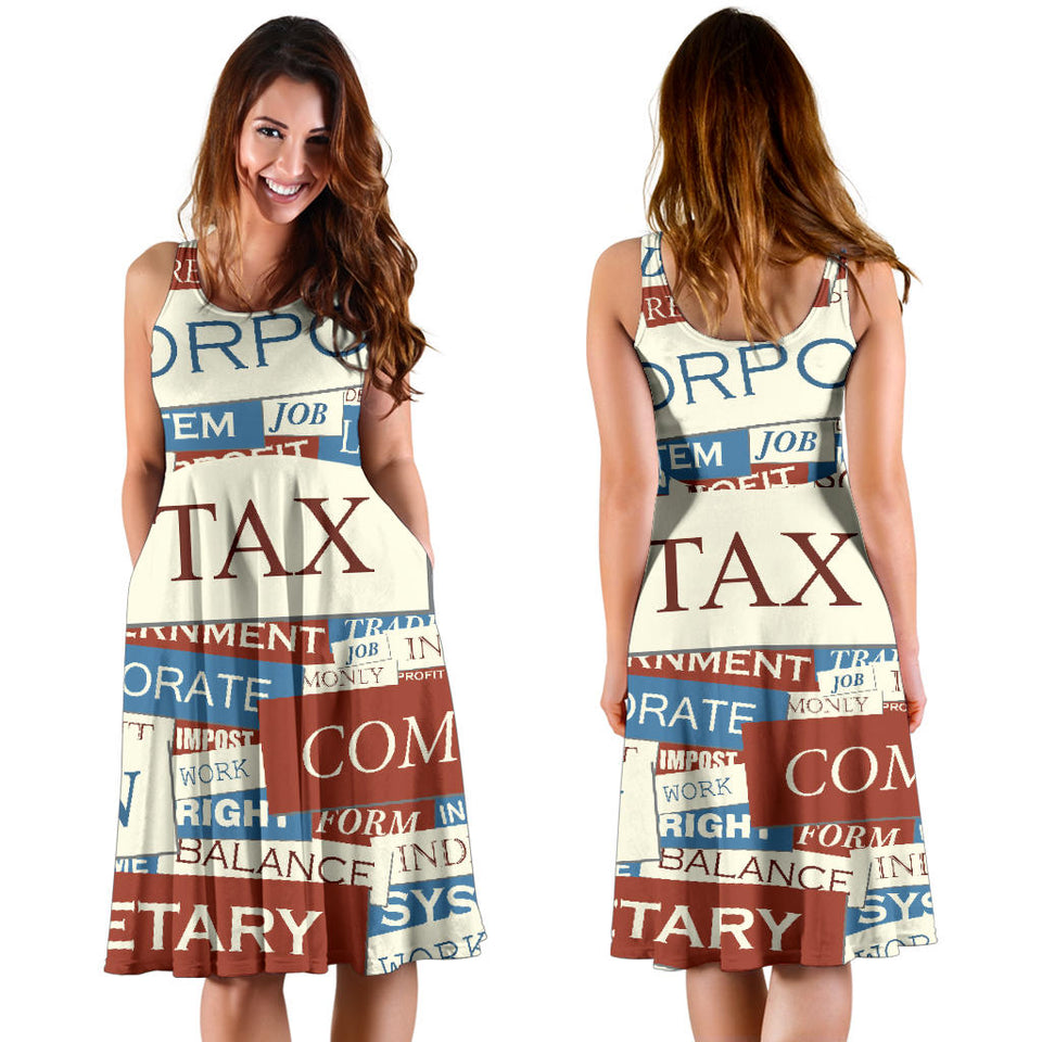 Accounting Financial Pattern Print Design 01 Sleeveless Mini Dress