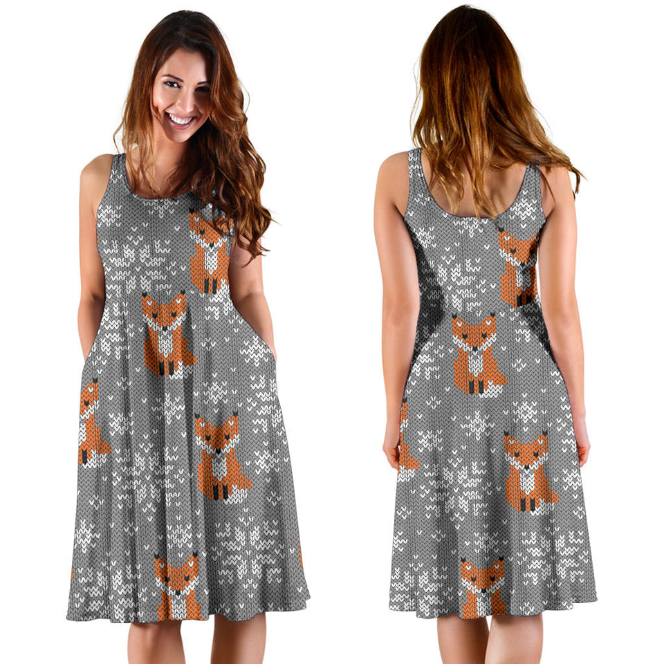 Knit Red Fox Pattern Print Design 02 Sleeveless Mini Dress