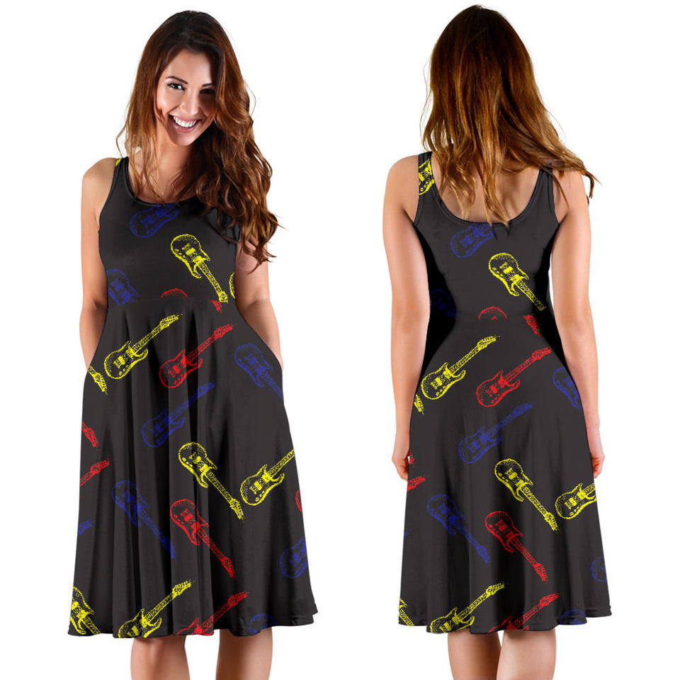 Electric Guitar Pattern Print Design 03 Sleeveless Mini Dress