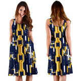 Cryptocurrency Chain Pattern Print Design 03 Sleeveless Mini Dress