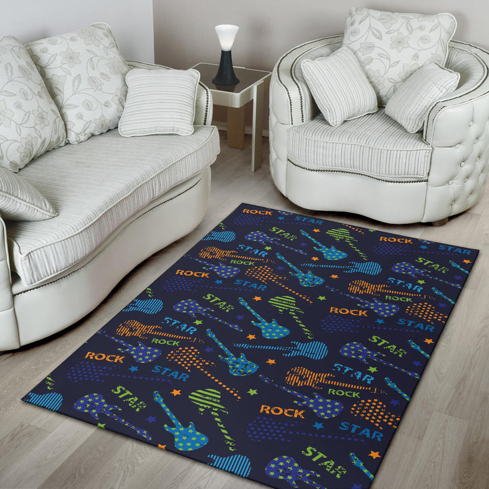 Rock and Roll Pattern Print Design A04 Area Rug