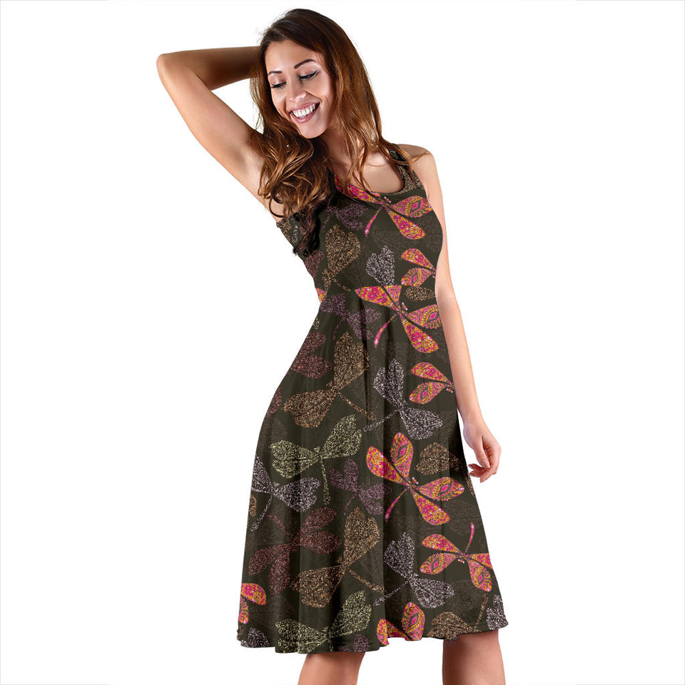 Dragonfly Pattern Print Design 02 Sleeveless Mini Dress