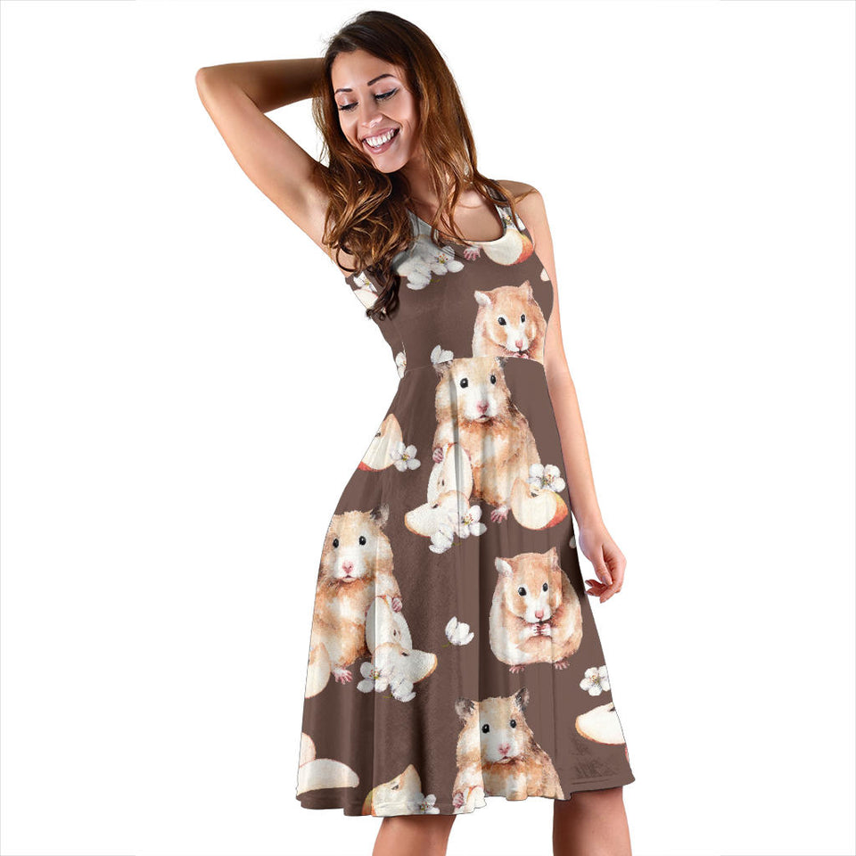 Hamster Pattern Print Design 03 Sleeveless Mini Dress