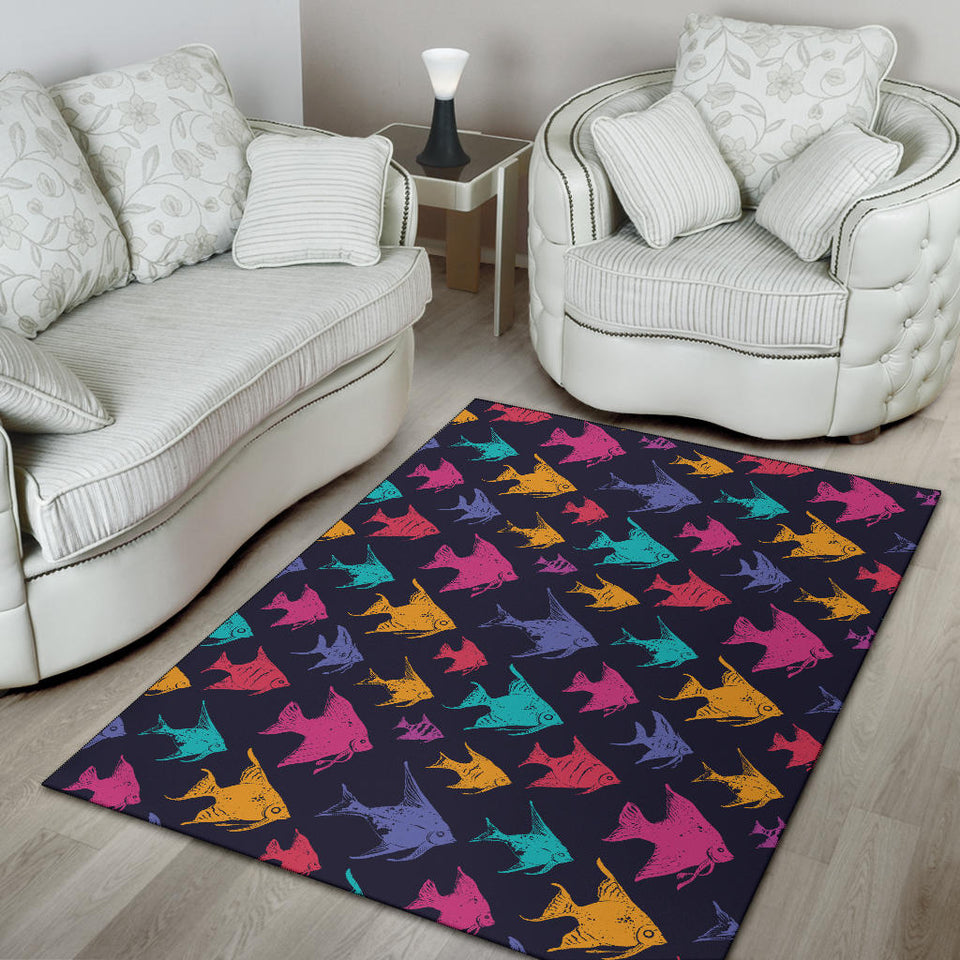 Angelfish Colorful Pattern Print Design 03 Area Rug