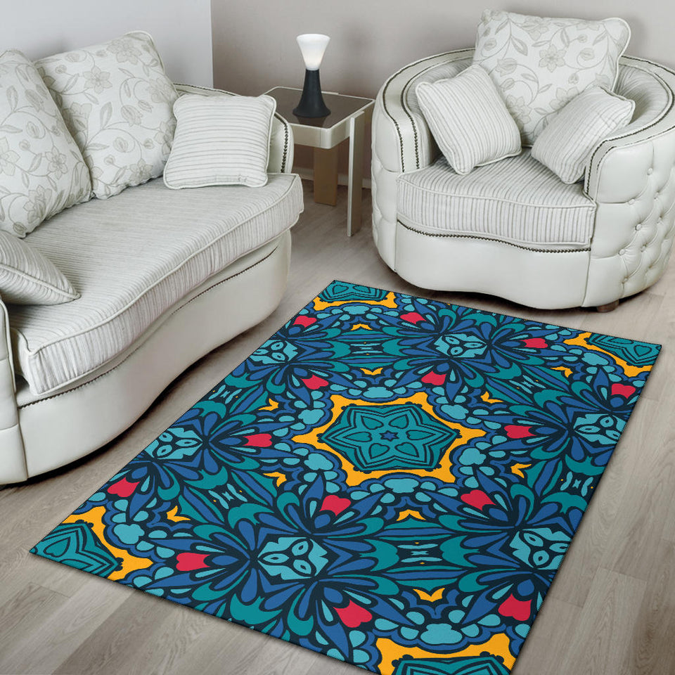 Kaleidoscope Pattern Print Design 04 Area Rug