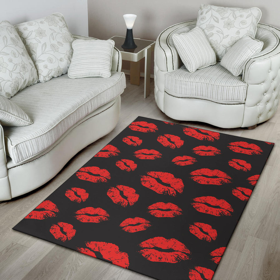 Lip Red Pattern Print Design 02 Area Rug