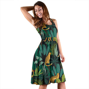 Jaguar Jungle Pattern Print Design 03 Sleeveless Mini Dress