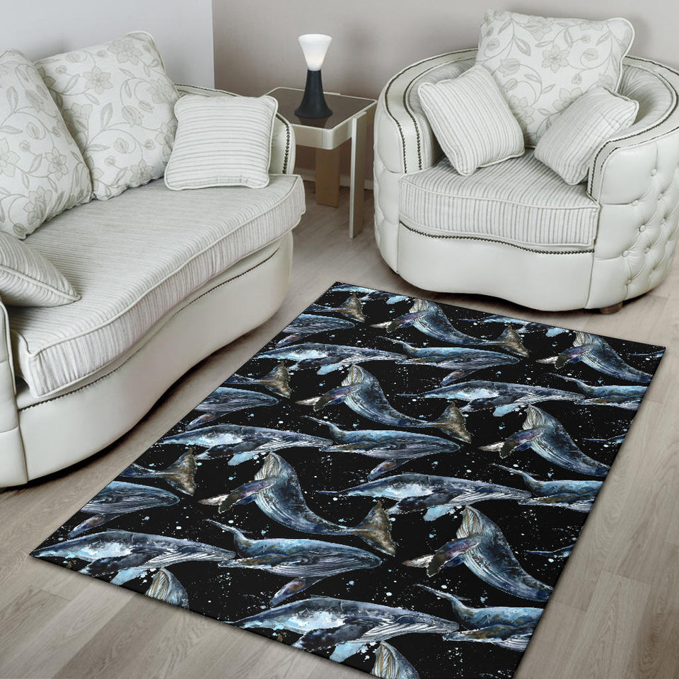Humpback Whale Pattern Print Design 01 Area Rug