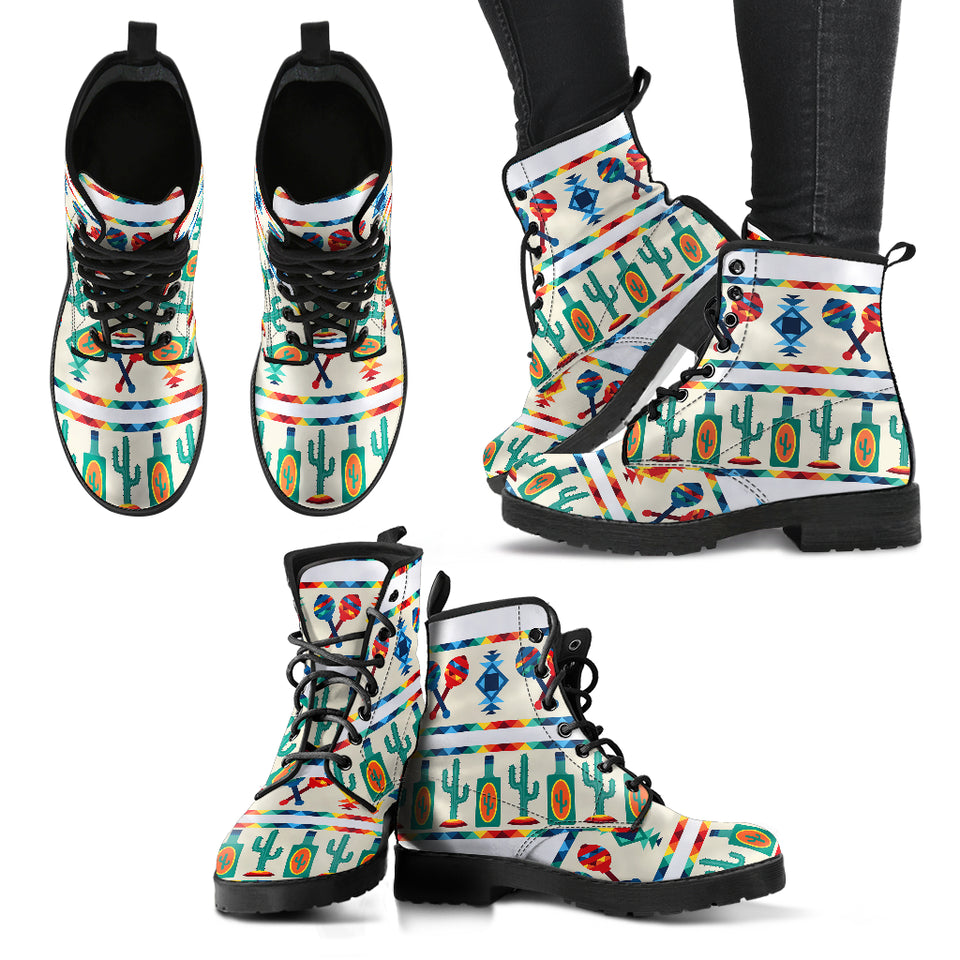 Maracas Mexican Pattern Print Design 01 Leather Boots