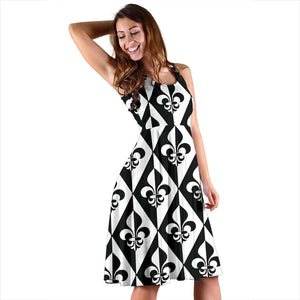 Fleur De Lis Black White Pattern Print Design 02 Sleeveless Mini Dress