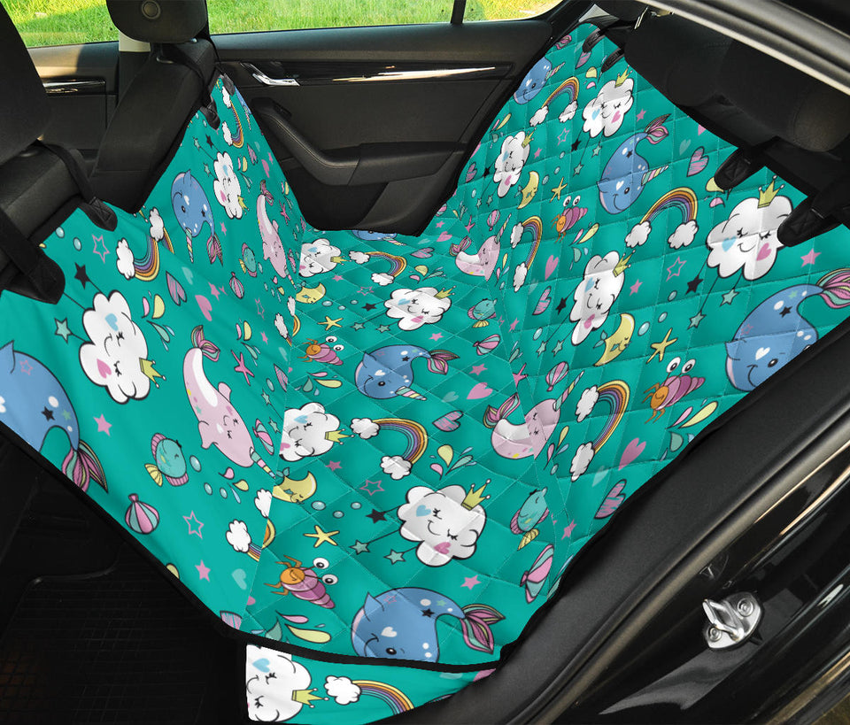 Narwhal Pattern Print Design 04 Rear Dog Car Seat Cover Hammock