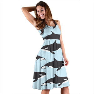 Killer Whale Pattern Print Design 01 Sleeveless Mini Dress