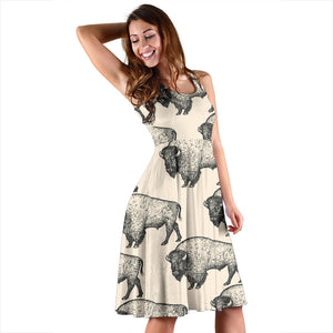 Bison Pattern Print Design 02 Sleeveless Mini Dress