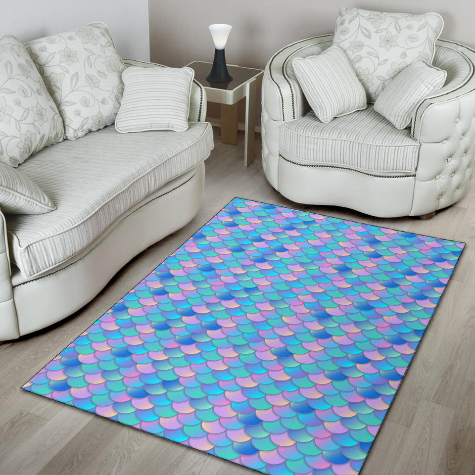 Mermaid Scales Pastel Pattern Print Design 07 Area Rug