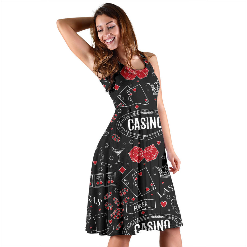 Casino Pattern Print Design 04 Sleeveless Mini Dress