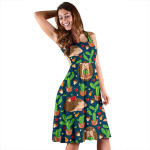 Hedgehog Cactus Pattern Print Design 04 Sleeveless Mini Dress