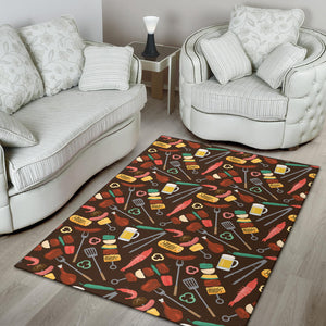 Barbecue Pattern Print Design 05 Area Rug