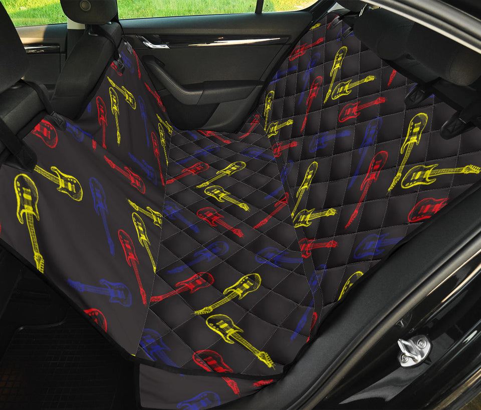 Electric Guitar Pattern Print Design 03 Rear Dog Car Seat Cover Hammock