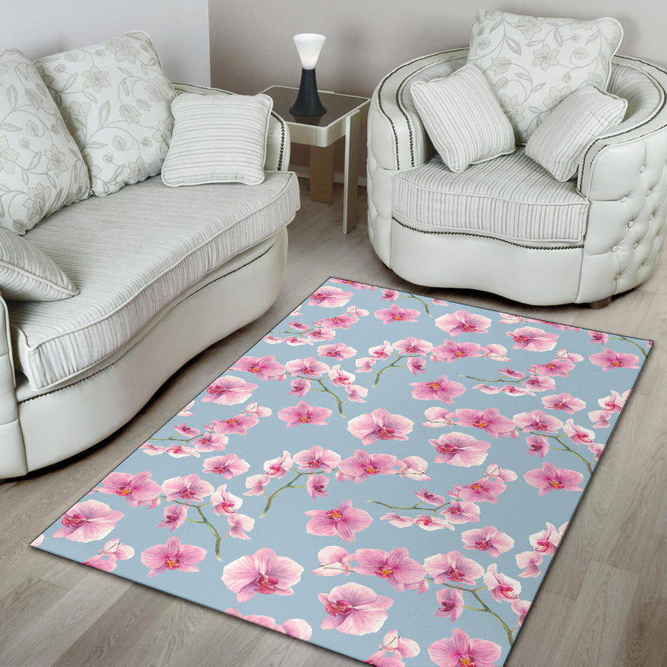 Orchid Pattern Print Design A01 Area Rug