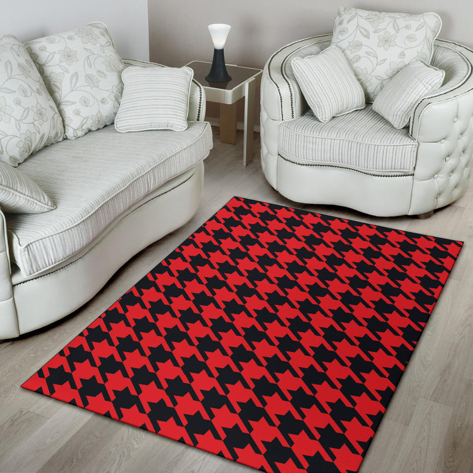 Houndstooth Red Pattern Print Design 03 Area Rug