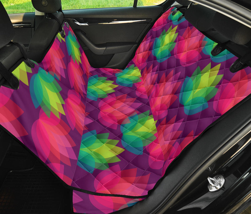Lotus Pattern Print Design 02 Rear Dog Car Seat Cover Hammock
