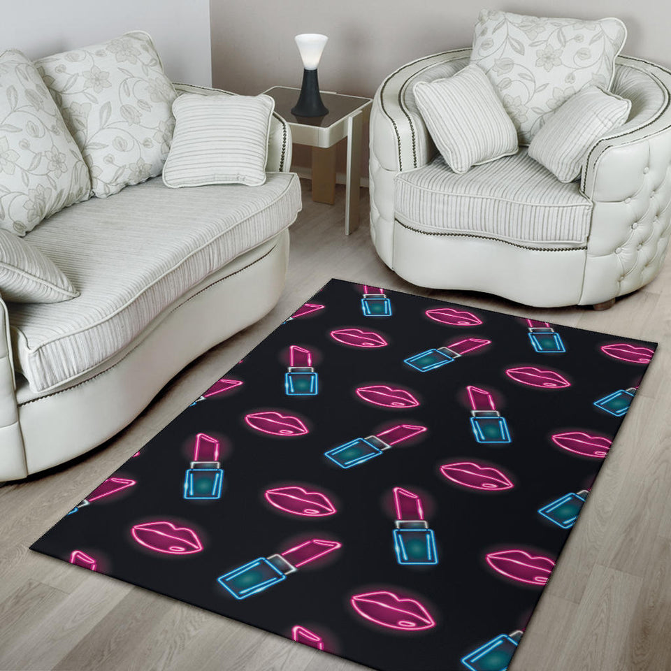 Lipstick Color Neon Pattern Print Design 03 Area Rug