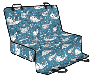Humpback Whale Pattern Print Design 03 Rear Dog Car Seat Cover Hammock