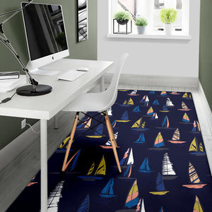 Sailing Ships Pattern Print Design A03 Area Rug