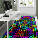 Neon Trible Rainbow Pattern Print Design A01 Area Rug