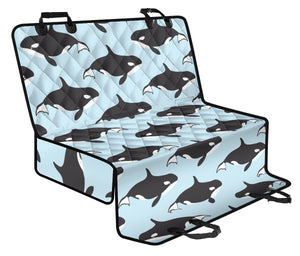 Killer Whale Pattern Print Design 01 Rear Dog Car Seat Cover Hammock