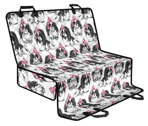 Japanese Chin Pattern Print Design 01 Rear Dog Car Seat Cover Hammock