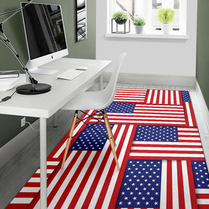Patriotic US Flag Pattern Print Design A01 Area Rug