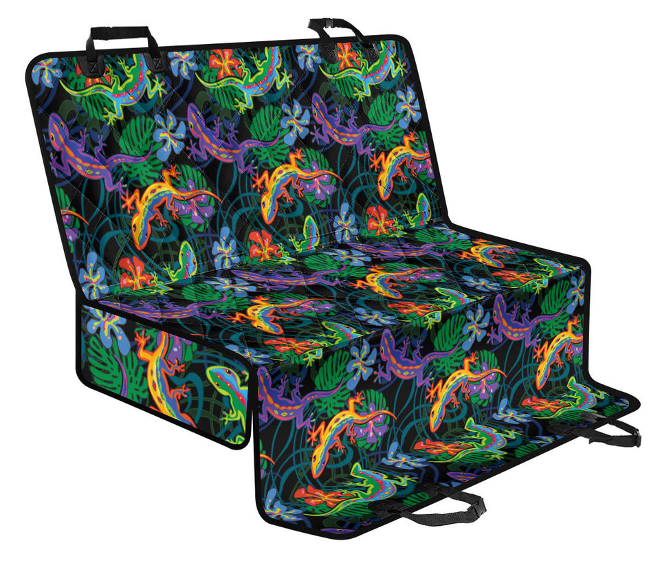 Gecko Colorful Pattern Print Design 01 Rear Dog Car Seat Cover Hammock
