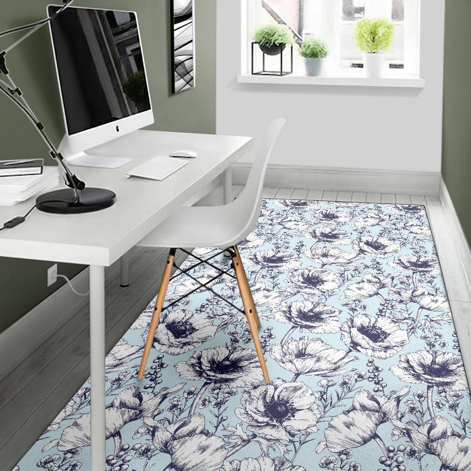 Anemone Pattern Print Design 02 Area Rug