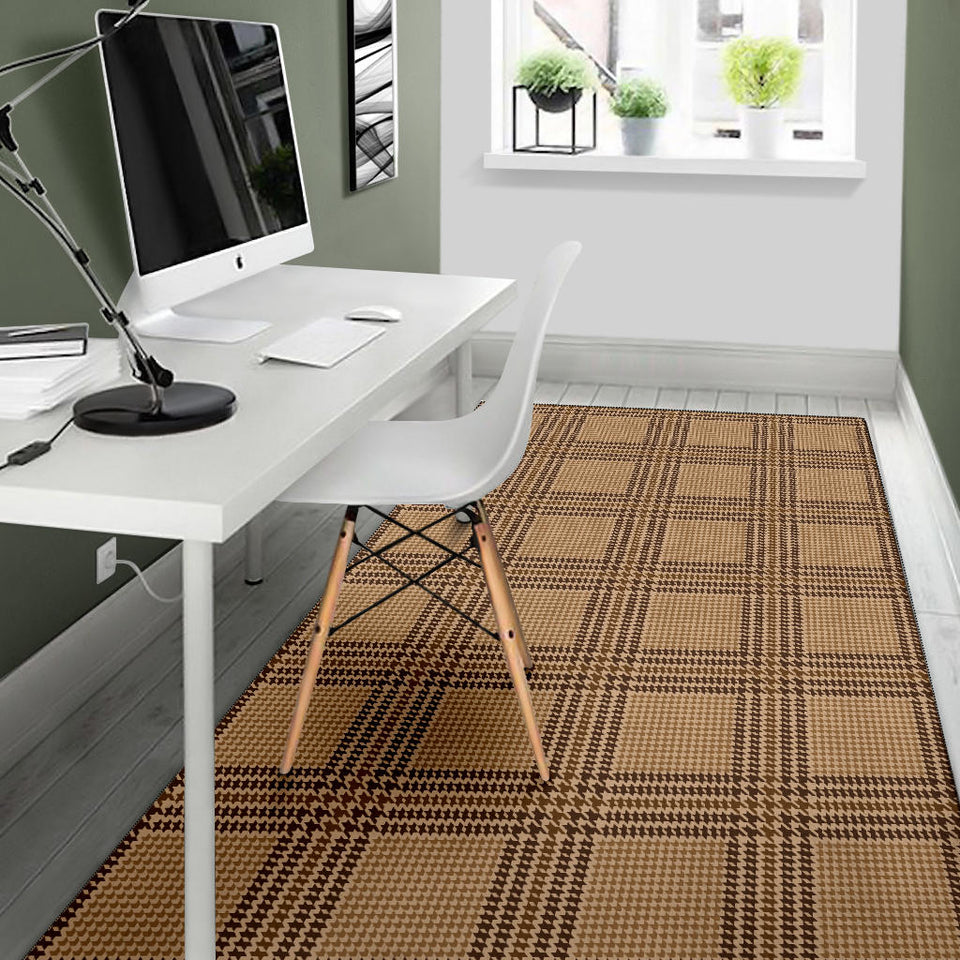 Houndstooth Brown Pattern Print Design 04 Area Rug