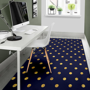 Polka Dot Gold Blue Pattern Print Design 02 Area Rug