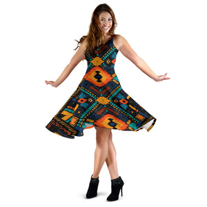 Kente Pattern Print Design 04 Sleeveless Mini Dress