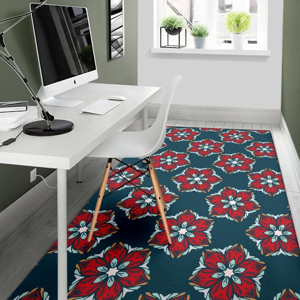 Poinsettia Pattern Print Design A03 Area Rug