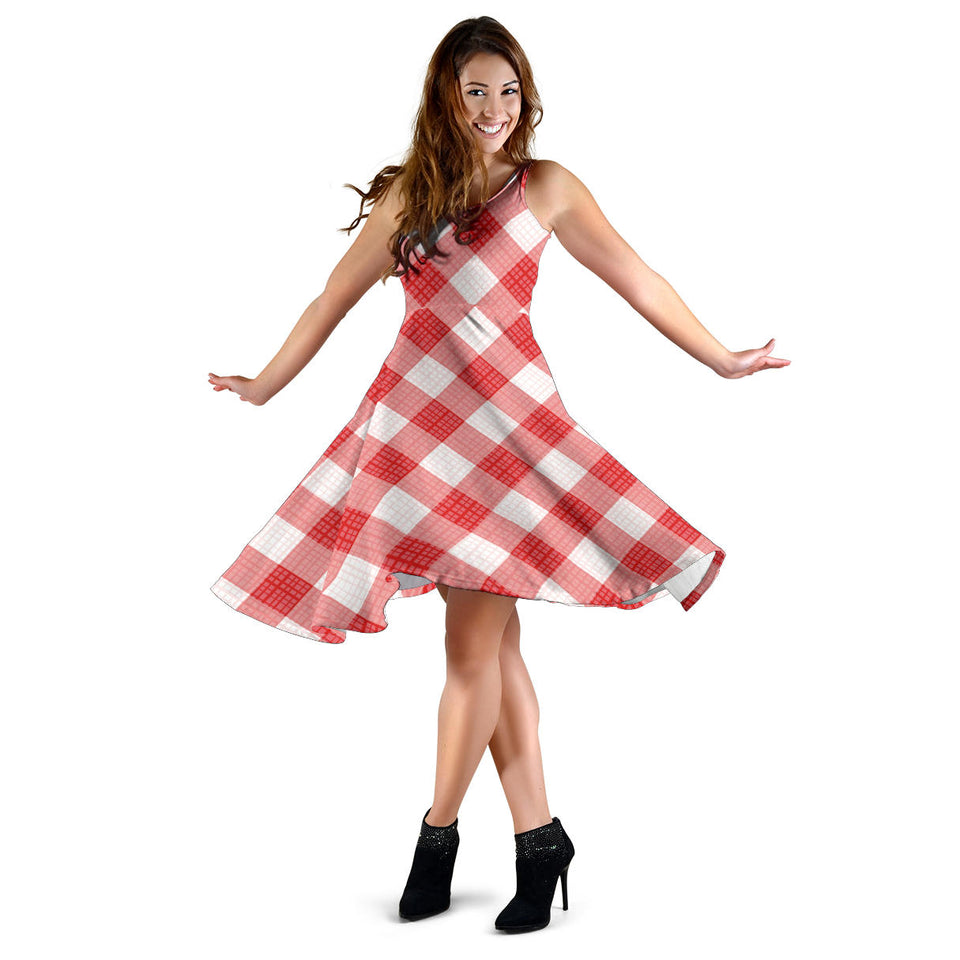 Gingham Red Pattern Print Design 01 Sleeveless Mini Dress
