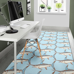 Swordfish Pattern Print Design 01 Area Rug