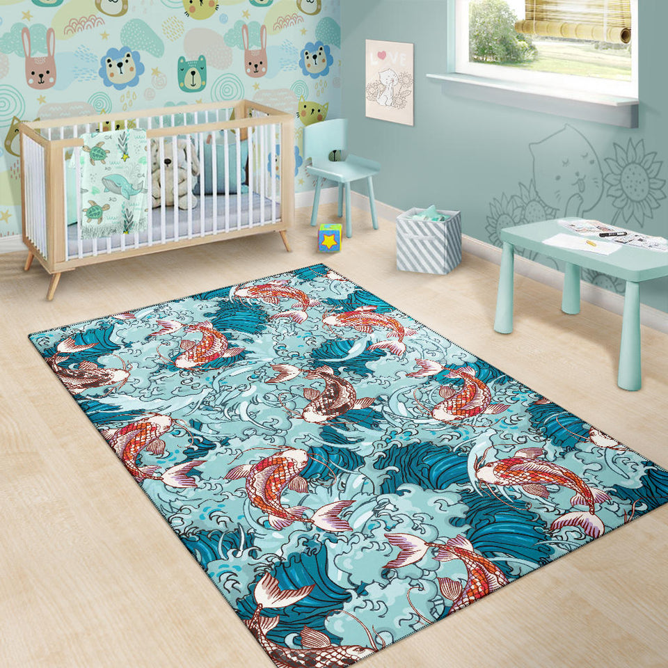KOI Fish Pattern Print Design 05 Area Rug