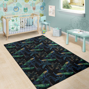 Rainforest Peacock Pattern Print Design A04 Area Rug