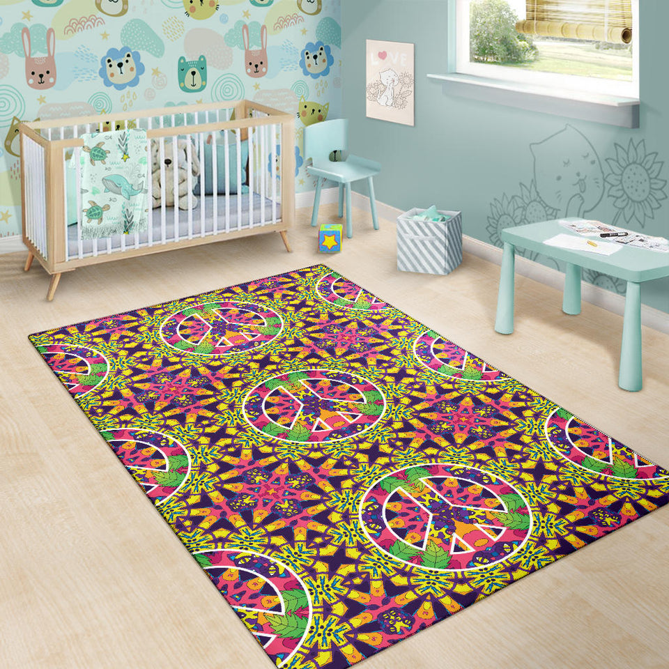 Peace Sign Pattern Print Design A04 Area Rug