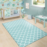 Scales Teal Pattern Print Design 02 Area Rug