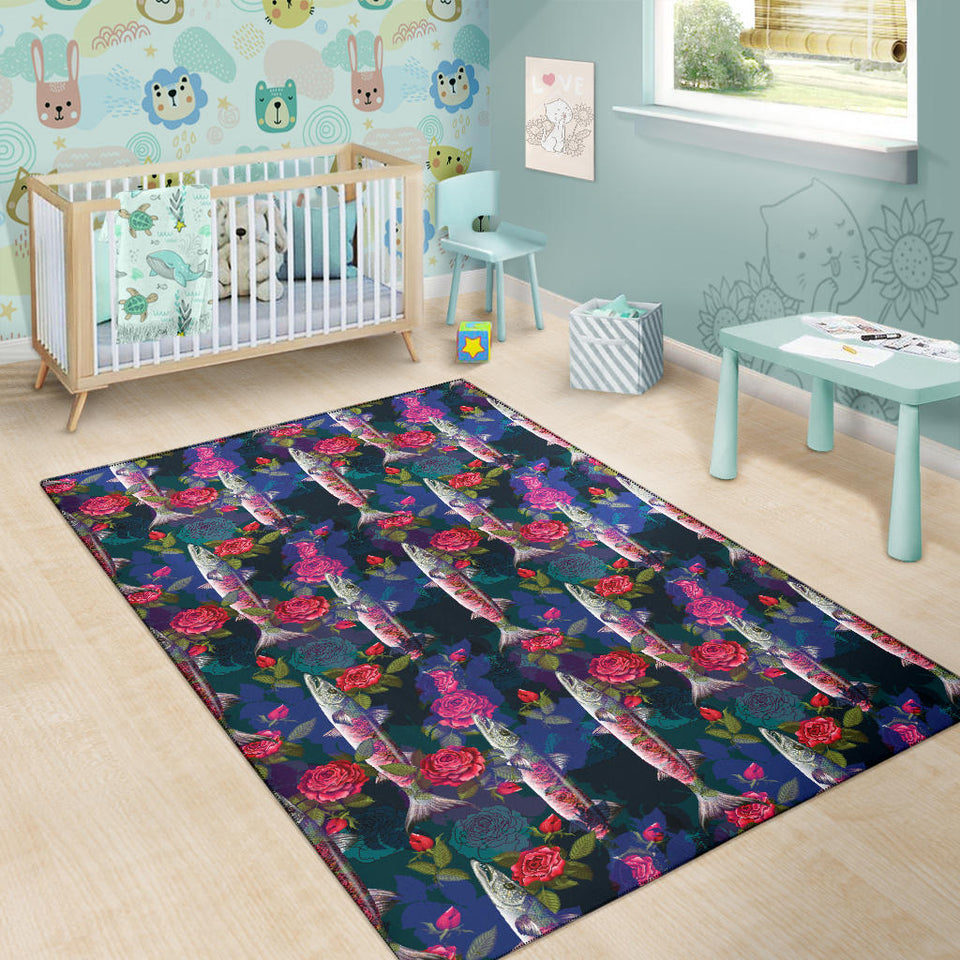 Barracuda with Folwer Pattern Print Design 01 Area Rug