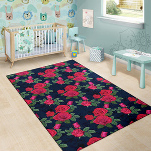 Rose Pattern Print Design A04 Area Rug