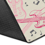Bass Guitar Pattern Print Design 02 Area Rug