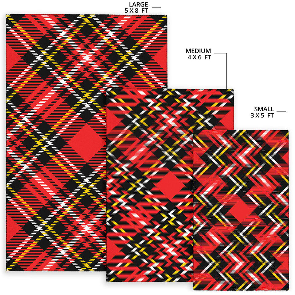 Plaid Red Pattern Print Design A03 Area Rug
