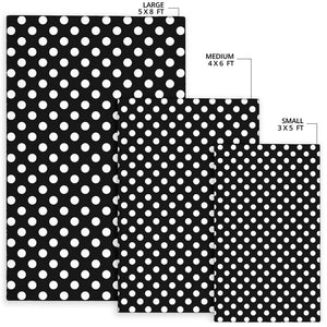 Polka Dot Black White Pattern Print Design 03 Area Rug
